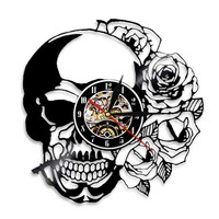 1Piece Skull With Rose Vinyl Record Wall Clock Handmade Gifts For Skull Collect Vintage Cool Living Room Interior Decor