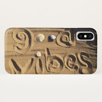 "Fun, ""Good Vibes"" Hand Drawn In Beach Sand Photo iPhone X Case"