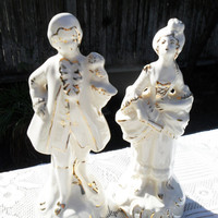 Vintage Gold & Cream Colonial Couple Figurines-Great For Cake Toppers
