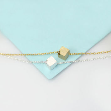 Silver Solid Cube Necklace/Natural and Candid Material