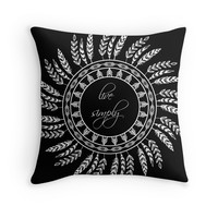 'Live simply - inverted' Throw Pillow by adiosmillet