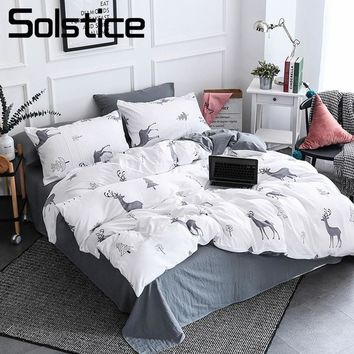 Solstice Home Textile Nordic Reindeer Bedding White Duvet Cover Set Sheet Pillowcase Girl Kid Teen Boys Bed Linen Christmas Tree