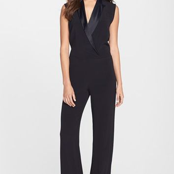 Women's Betsey Johnson Black Tuxedo Jumpsuit,
