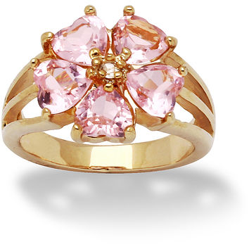PalmBeach 14k Gold Overlay Pink and Clear CZ Flower Ring Glam CZ | Overstock.com Shopping - The Best Deals on Cubic Zirconia Rings
