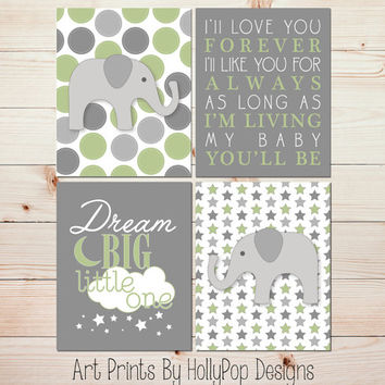 I'll Love You Forever Baby Boy Nursery Wall Art Elephant Nursery Wall Art Sage Green Gray Nursery Modern Boy Nursery Dream Big Art #1107
