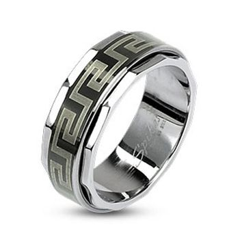Maze Link Black IP Spinner Ring 316L Stainless Steel