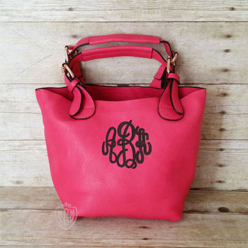Monogrammed Small Hot Pink Crossbody Bag - Convertible Personalized Purse - Monogram Cross body - Pink Shoulder Bag - 2 bags in 1