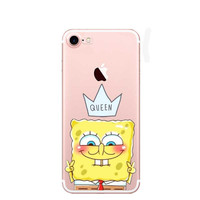 Best Friend Patrick Queen Spongebob Stars Transparent soft silicone TPU Phone Cases C For iPhone 7 7Plus 6 6S 6Plus 5 5S SE