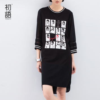 Toyouth 2016 Spring Summer New Arrival Printed Character Gentle Chiffon Three Quarter O-Neck Cotton Lace Casual Women Dresses