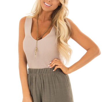Mocha Sleeveless Ribbed Bodysuit