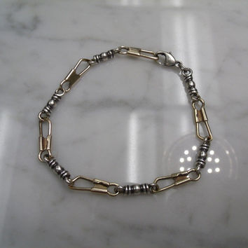 VERY RARE RETIRED JAMES AVERY 14K & STERLING SILVER FISHER'S OF MEN BRACELET 8.5