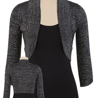Black and Silver Ruched 3/4 Sleeve Bolero - maurices.com