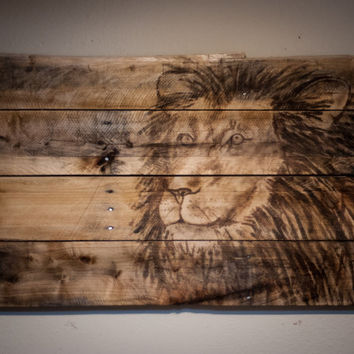 Safari theme room rustic decor Wooden Lion Painting Child room decor baby nursery decor Man Cave Decor Animal Theme Room african wall art