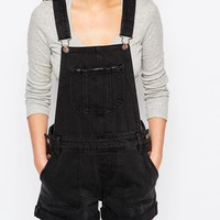 New Look Denim Dungaree Playsuit at asos.com