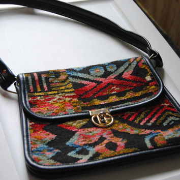 Vintage Carpet Purse Spilene Medium Vintage Purse 1970's