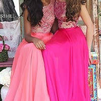 Sherri Hill Cap Sleeve Open Back Long Prom Dress
