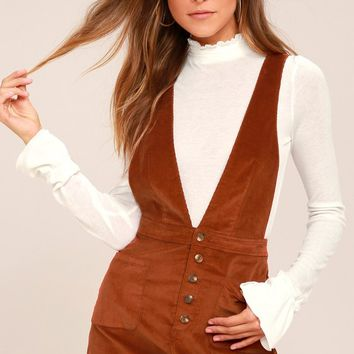 Free People Old School Love Rust Orange Corduroy Pinafore Dress