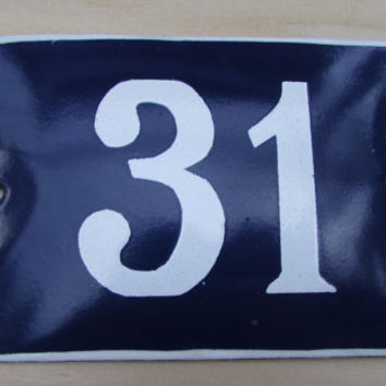 Vintage French House Number, Door Number 31, Preservede French Blue Enameled Sign Number 31, Street Sign Number 31, Blue Enamel Metal Plate