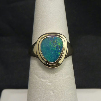 Solid 14K Yellow Gold Natural Opal Ring - Size 6