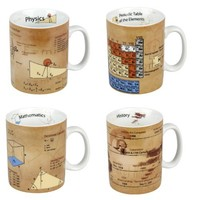 Konitz Physics/Math/Chemistry/History Mugs, Set of 4
