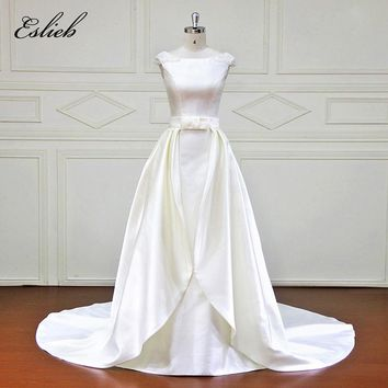 Simple Vintage Bow Sash Detachable Tail  A Line Wedding Dress Special Back Design Pearls High-end Bridal Gown Court Train Gown