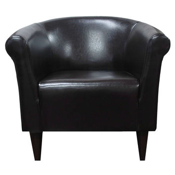Dark Brown Walnut Faux Leather Barrel Shape Arm Chair