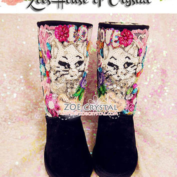 New Year SALES 20%off - Bling and Sparkly Black Winter BOOTS with Charming M Cat Made with Sequins and Rhinestones