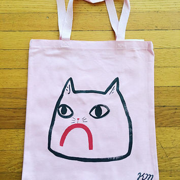 Sad Cat Pink Tote