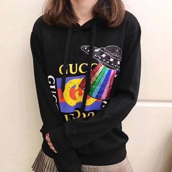 Gucci Fashion Hooded Long Sleeve Black Top Sweatshirt Sweater