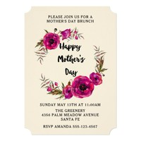 Fuchsia Poppies Floral Wreath Mother's Day Brunch Card