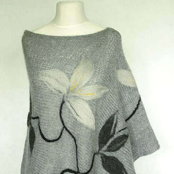 Gray poncho hand knitted from yarn mohair and acrylic, with felted appliques  on it