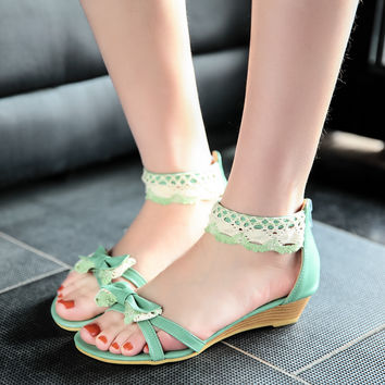 Fashion Bow Wedges Sandals Pumps Platform High Heels Women Shoes 9202