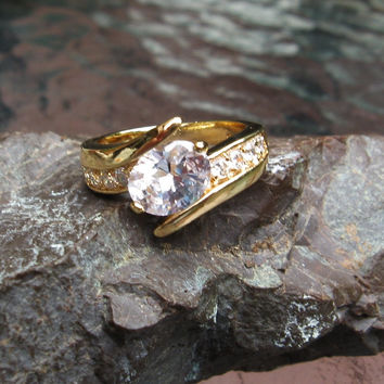 18K Gold Plated Cubic Zirconia Wedding Style Ring