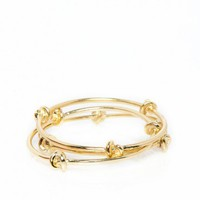 Knotted Up Bangle Set in Gold - ShopSosie.com