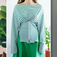 Like Corset Stripy Off Shoulder Top