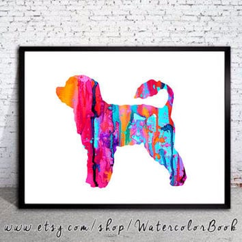 Portuguese Water 3 Watercolor Print, Portuguese Water Dog Art, animal silhouette, dog silhouette, dog art, dog print,dog poster