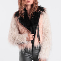 The Good Life Faux Fur Moto Jacket By Chaser