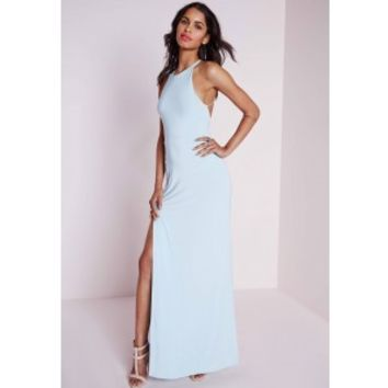 Slinky Side Split Maxi Dress Powder Blue - Dresses - Maxi Dresses - Missguided