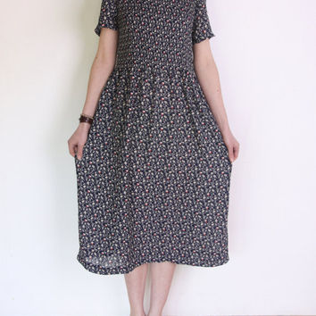 90's floral midi dress, navy, white, red, brown short sleeve long dress liberty print midi tea dress, old fashoned romantic micropleat dress