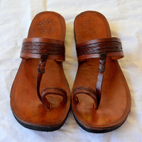 Moroccan Inspired Leather Sandals BROWN -Handmade Sandals , Indian Sandals, Perfect for a Beach Wedding, Women, Custom made - ALL SIZES