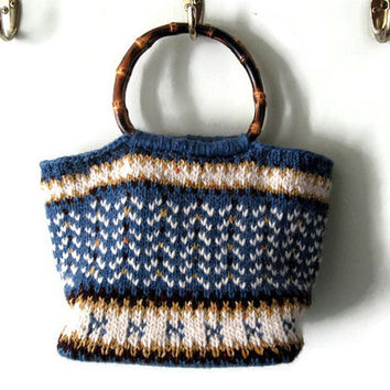 Knit Purse / Blue Handbag / Wool Bag / Unique Knitted Bag / Women's Small Purse / Statement Handbag / Free Shipping