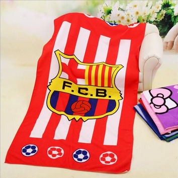 Hot sale 70*140cm microfiber football team bath towel brand Swimwear beach towel for adults