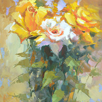 Roses #4 oil painting on canvas by Dmitry Spiros, 60 x 80 cm, 24 x 32 in, 2015