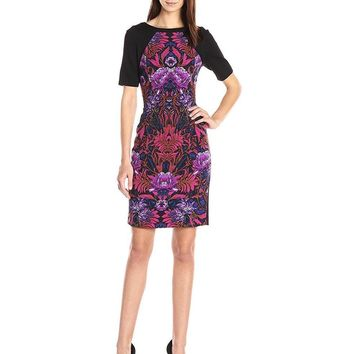 Adrianna Papell Graphic Floral Color Block Sheath Dress AP1D100057 - 1 pc Pink Multi In Size 6 Available