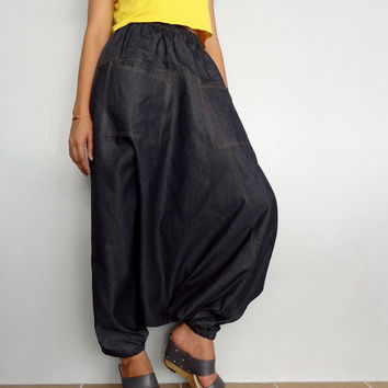 Harem Drop Crotch Pant,Unisex Baggy Trouser, Black Denim Cotton Lightweight (pants-C4D).