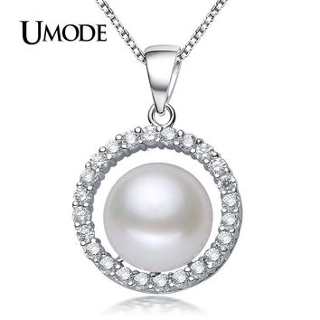 UMODE Natural Pearl Necklace Round Romantic Box Rope Link Chain Fashion Necklaces For Women 925 sterling Silver Jewelry AN0007