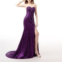 High Quality Evening Dress  Brilliant Sequin High-slit Mermaid Long Cocktail Party Sexy Prom Dress