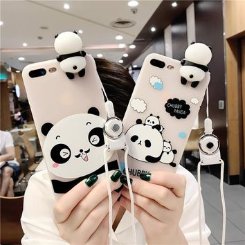 3D Panda Cute Phone Case For iPhone 6 6S 7 7 Plus Cover Strap Transparent TPU Silicone Cover For iPhone 6 6S 7 Phone Accessories