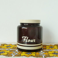 1970s flour kitchen storage jar . retro kitchen . smoked brown glass . screw lid . retro kitchen . baking . flour bin . made in uk