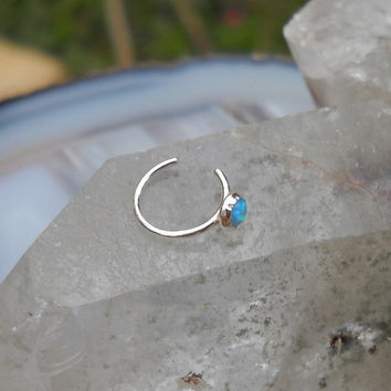 NON PIERCED Opal Nose Ring Open Cuff/Hoop Sterling Silver Handcrafted 3mm Stone No Piercing Required